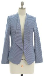 12 Units of Open Front Stripe Blazer Blue - Women's Winter Jackets