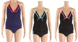 24 Units of Womens 2 Piece Bathing Suite Assorted Colors With Adjustable Straps - Womens Swimwear