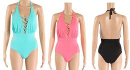 24 Units of Womens 1 Piece Bathing Suite Assorted Colors With Adjustable Straps - Womens Swimwear