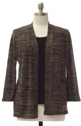 12 Units of Plus Tufer Hacci Knit Cardigan Brown - Womens Sweaters & Cardigan