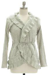 12 Units of Plus Marled Ruffle Front Cardigan Grey - Womens Sweaters & Cardigan