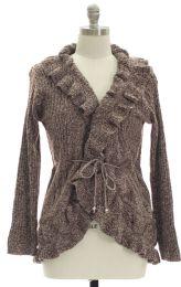 12 Units of Plus Marled Ruffle Front Cardigan Maroon - Womens Sweaters & Cardigan