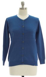 12 Units of Plus Crew Neck Raised Knit Cardigan Blue - Womens Sweaters & Cardigan