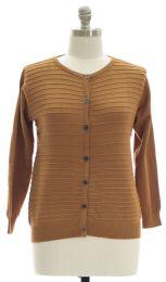 12 Units of Plus Crew Neck Raised Knit Cardigan Mustard - Womens Sweaters & Cardigan