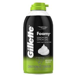 120 Units of Gillette Lemon Lime Foamy Shaving Cream Shipped By Pallet - Shaving Razors