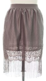 12 Units of Plus Plus Lace Shell Knee Length Skirt Grey - Womens Skirts