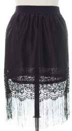 12 Units of Plus Plus Lace Shell Knee Length Skirt Black - Womens Skirts
