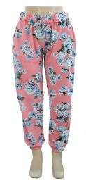 12 Units of Plus Floral Joggers Pink - Womens Pants