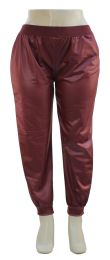 12 Units of Plus Faux Leather Joggers Wine - Womens Pants