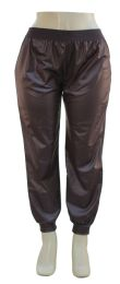 12 Units of Plus Faux Leather Joggers Brown - Womens Pants