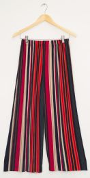 12 Units of Stripe Coulottes Multi Color Red - Womens Skirts