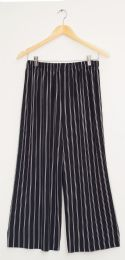 12 Units of Stripe Coulottes Multi Color Double Black - Womens Skirts