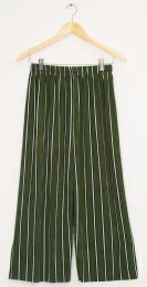 12 Units of Stripe Coulottes Multi Color Hunter Green - Womens Skirts