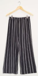 12 Units of Stripe Coulottes Multi Color Black Stripe - Womens Skirts
