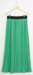 12 Units of Elastic Band Pleated Maxi Skirt Kelly Green - Womens Skirts