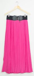 12 Units of Faux Belt Maxi Skirt Hot Pink - Womens Skirts