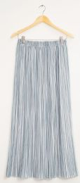 12 Units of Stripe Pleated Maxi Skirt Ice Blue - Womens Skirts