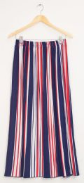 12 Units of Stripe Pleated Maxi Skirt Red White Blue - Womens Skirts