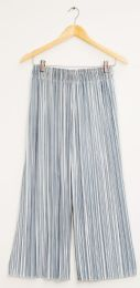 12 Units of Stripe Wide Leg Pleated Trousers Ice Blue - Womens Skirts
