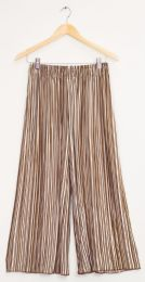 12 Units of Stripe Wide Leg Pleated Trousers Sepia Taupe - Womens Skirts