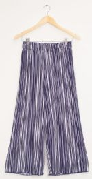 12 Units of Stripe Wide Leg Pleated Trousers Navy Stripe - Womens Skirts