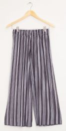 12 Units of Stripe Wide Leg Pleated Trousers Black Grey Stripe - Womens Skirts