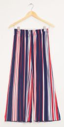 12 Units of Stripe Wide Leg Pleated Trousers Red And White - Womens Skirts