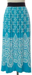 12 Units of Printed Skirt Torquoise - Womens Skirts