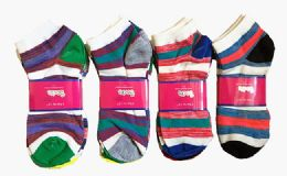 60 Units of Womens Junior Girls Printed Ankle Socks Size 9-11 Stripe Printed Socks - Womens Ankle Sock