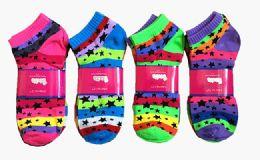 60 Units of Womens Junior Girls Printed Ankle Socks Size 9-11 Stars And Stripe Printed Socks - Womens Ankle Sock
