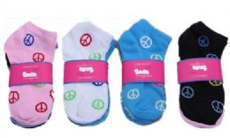60 Units of Womens Junior Girls Printed Ankle Socks Size 9-11 Peace Printed Socks - Womens Ankle Sock