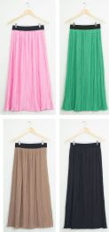 24 Units of Elastic Band Pleated Maxi Skirt Assorted - Womens Skirts
