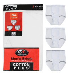 36 Units of Men's 3 Pack White Cotton Brief, Size Small - Mens Underwear