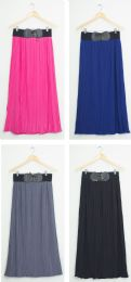 24 Units of Faux Belt Maxi Skirt Assorted - Womens Skirts