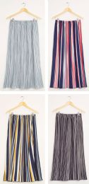 24 Units of Stripe Pleated Maxi Skirt Assorted - Womens Skirts