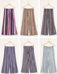 24 Units of Stripe Wide Leg Pleated Trousers Assorted - Womens Skirts