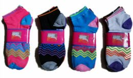 60 Units of Womens Junior Girls Printed Ankle Socks Size 9-11 - Womens Ankle Sock