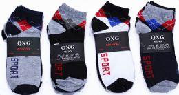 60 Units of Mens Light Weight Ankle Socks, Printed Performance Athletic Socks Size 10-13 Argyle Printed Socks - Mens Ankle Sock