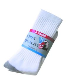 60 Units of Mens White With Gray Heel And Toe Sport Athletic Socks Size 10-13 Cotton Blend - Mens Crew Socks