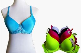 60 Units of Fashion Padded Bras Packed Assorted Colors With Adjustable Straps - Womens Bras And Bra Sets