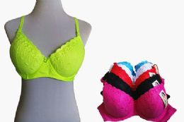 60 Units of Fashion Padded Bras Packed Assorted Colors With Adjustable Straps Neon Color Bras - Womens Bras And Bra Sets
