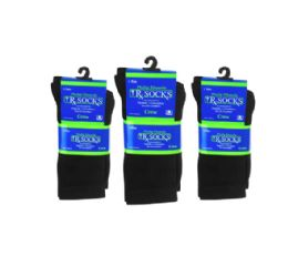120 Units of Loose Fit Diabetic Socks Crew Size 9-11 For Men And Women In Black - Bulk Case Of 120 Pairs - Socks & Hosiery
