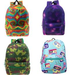 "24 Units of 17"" Wholesale Kids Classic Padded Backpacks In 4 Assorted Unique Prints - Backpacks 17"""