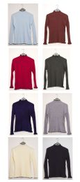 48 Units of Contrast Mock Neck Ribbed Sweater Assorted - Womens Sweaters & Cardigan