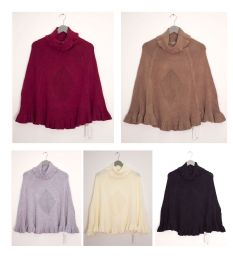 30 Units of Cowl Neck Pullover Poncho Sweater Assorted - Womens Sweaters & Cardigan