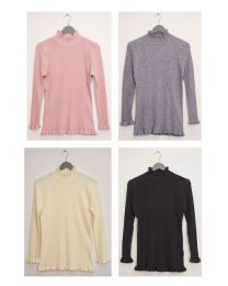 24 Units of Ruffle Neck Ribbed Sweater Assorted - Womens Sweaters & Cardigan