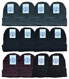24 Units of Yacht & Smith Unisex Knit Winter Hat With Stripes Assorted Colors - Winter Beanie Hats