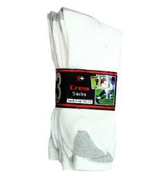 120 Units of Men's White With Grey Heel & Toe Crew Socks , Sock Size 10-13 - Mens Crew Socks