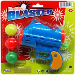 """72 Units of 5"""" Ping Pong Toy Gun Play Set On Blister Card, 3 Assrt - Toy Weapons"""