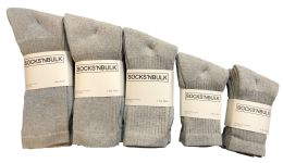 960 Units of Mixed Sizes Of Cotton Crew Socks For Men Woman Children In Solid Gray - Sock Pallet Deals